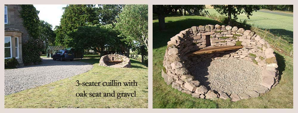 3-seater cuillen with oak seat and gravel